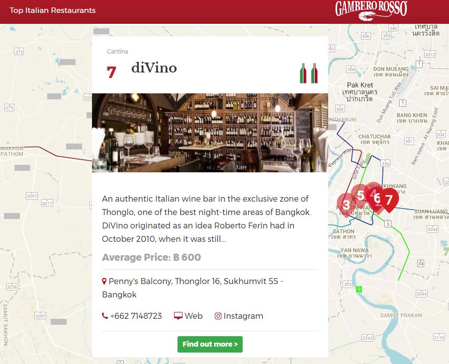 DiVino has been voted Gambero Rosso's Top 7 Italian restaurant in Bangkok!