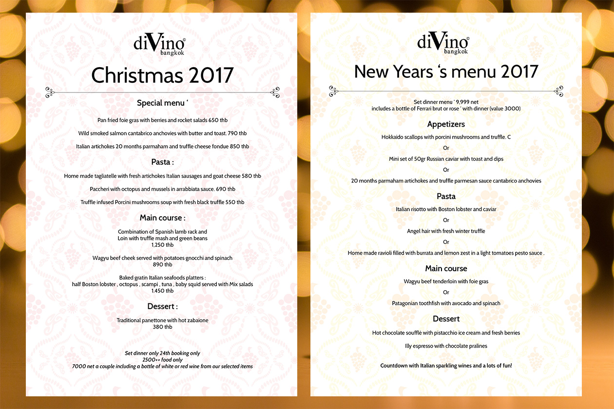 Christmas and New Year's eve menus